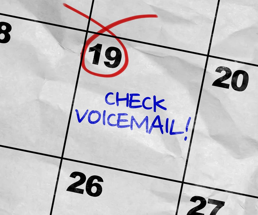 Check voicemail marked on a calendar