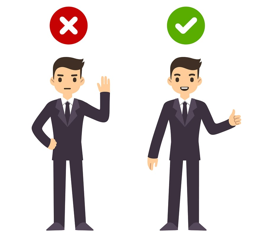 Business man illustration using it wrong or right