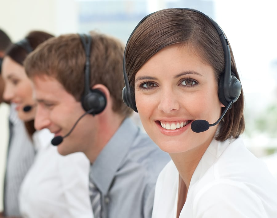 Female Customer Service Professional In A Call Center