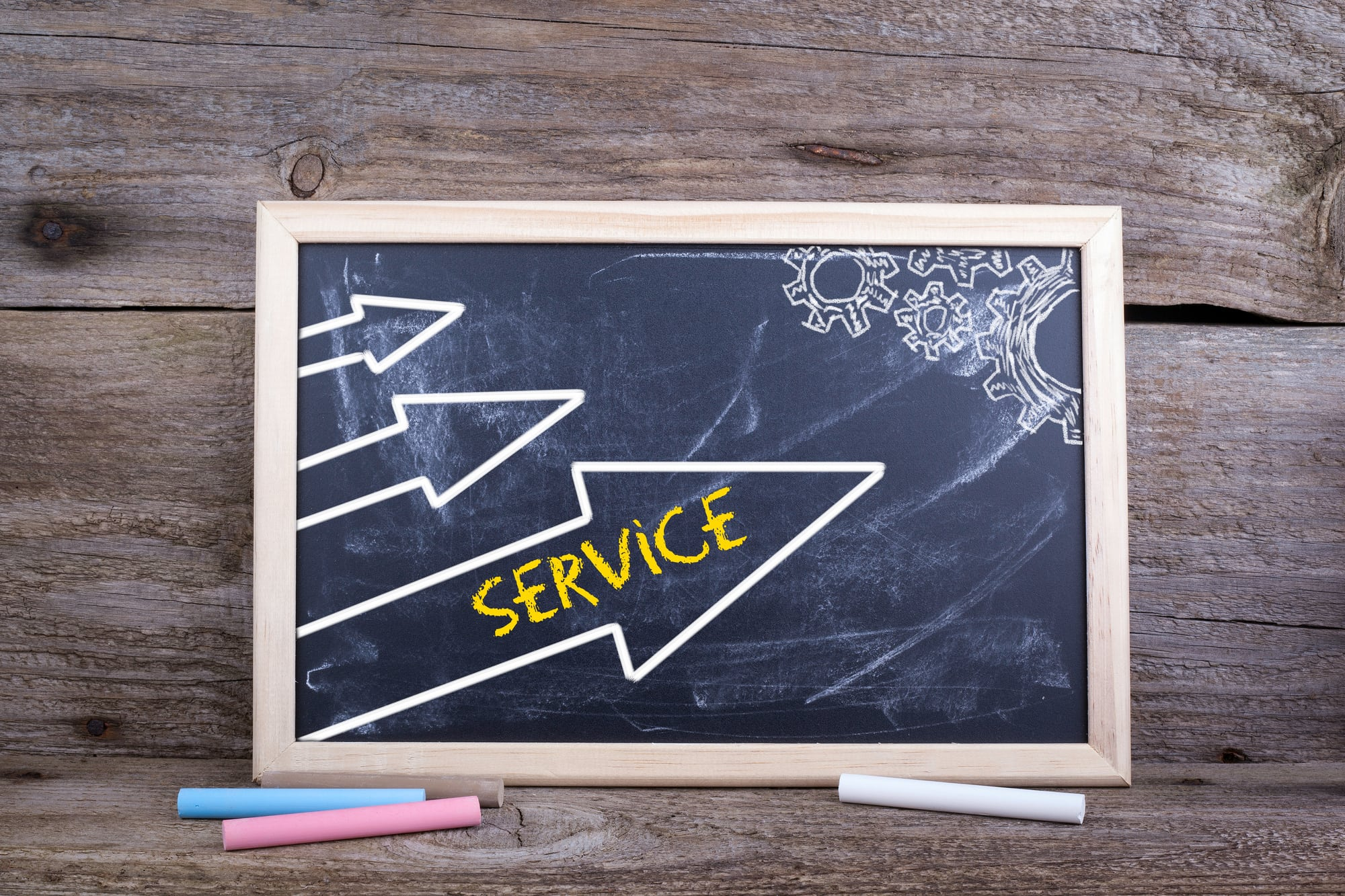 Service. Old wooden background with texture and chalk blackboard