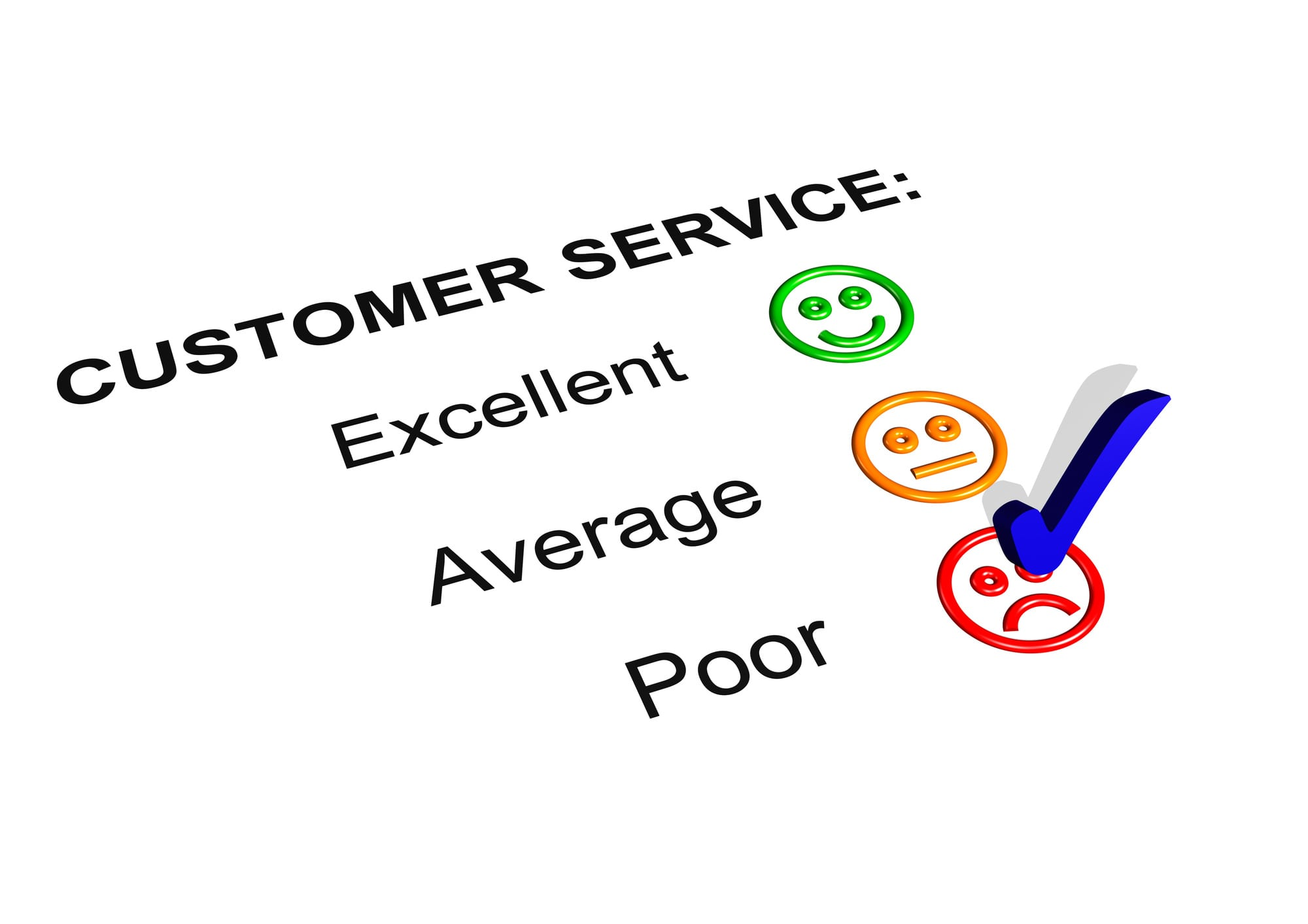 Poor customer service checked off on customer satisfaction survey