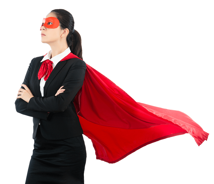 Businesswoman dressed in red cape