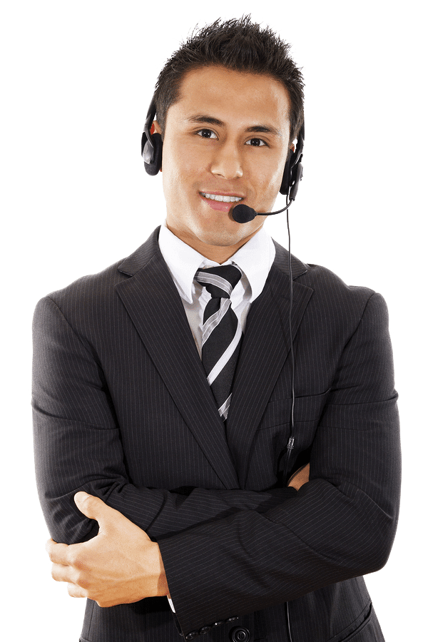 Male Customer Service Professional Dressed in suit and wearing telephone headset