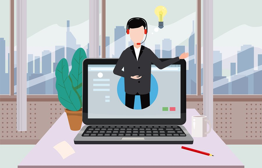 Concept online assistant, customer and operator, call centre, online global technical support 24-7. Vector illustration male hotline operator advises client, virtual help service.