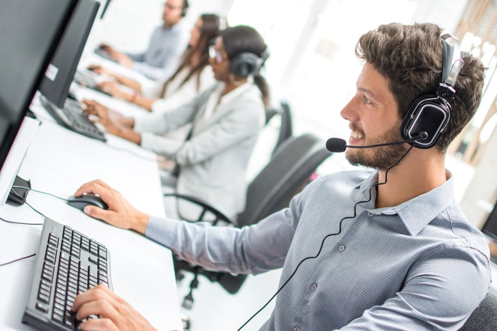 Call Center employee taking dispatch calls