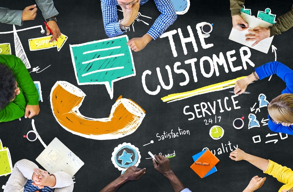 Customer service written on chalkboard with other images
