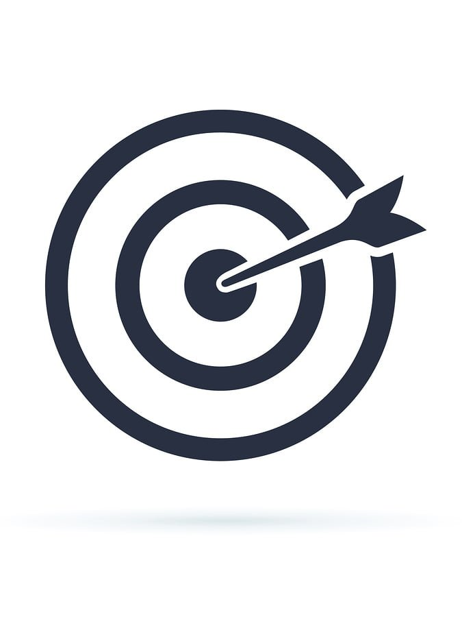 Target Icon vector. Target with an arrow flat icon concept market goal vector picture image. Concept target market, audience, group, consumer. Bullseye or goal Isolated sign. Vector Illustration